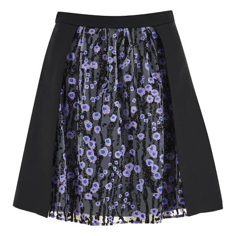 Carven Women's Floral Skirt - Black/Lilac