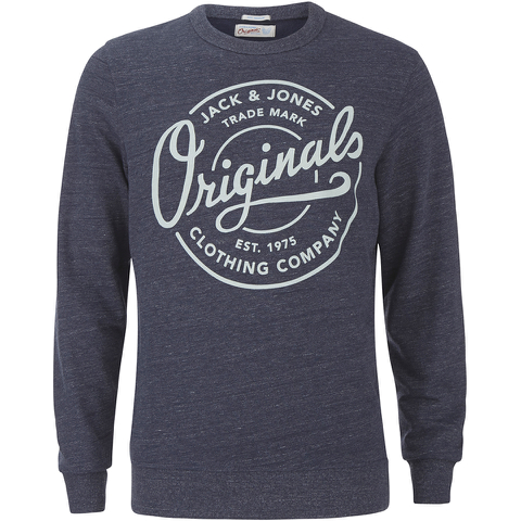 Jack & Jones Men's Originals Tones Sweatshirt - Navy Blazer Melange