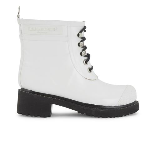 Ilse Jacobsen Women's Lace Up Ankle Rubber Boots - White