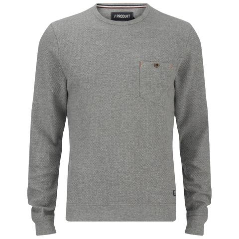 Produkt Men's Textured Crew Neck Sweatshirt - Light Grey Melange