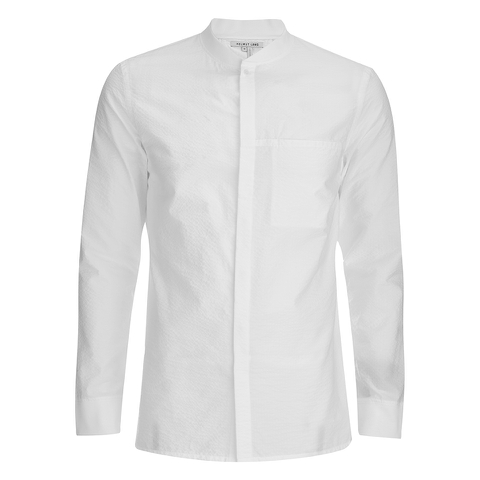 Helmut Lang Men's Whisper Seersucker Bomber Shirt - Optic White