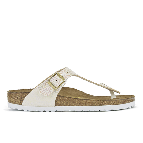 Birkenstock Women's Gizeh Shiny Snake Toe-Post Sandals - Cream