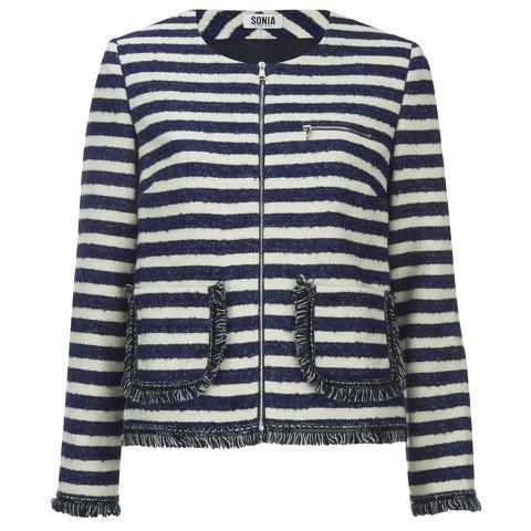 Sonia by Sonia Rykiel Women's Tweed Striped Jacket - Navy/Ecru
