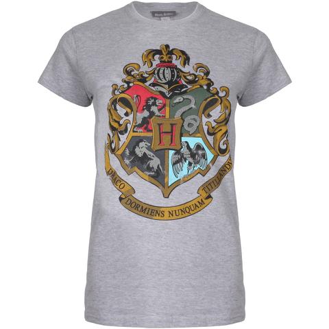 Harry Potter Hogwarts Logo Damen T-Shirt - Grau