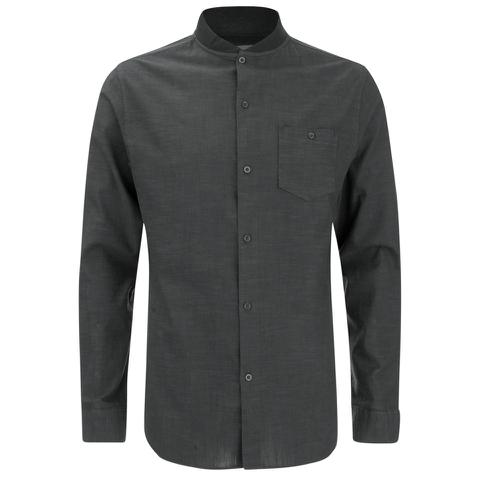 Brave Soul Men's Oakley Collarless Long Sleeve Shirt - Charcoal/Black