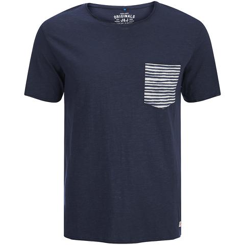 Jack & Jones Men's Originals Raw Stripe Pocket T-Shirt - Dark Blue Denim
