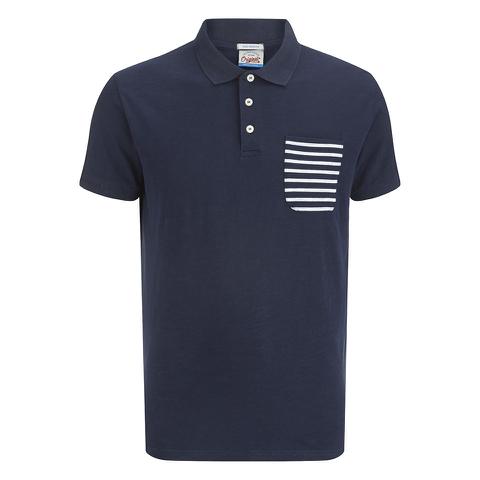 Jack & Jones Men's Originals Extra Stripe Pocket Polo Shirt - Navy/White