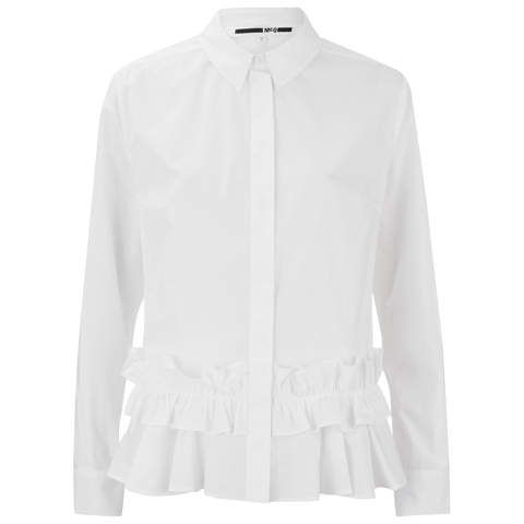McQ Alexander McQueen Women's Peplem Ruffle Shirt - Optic White