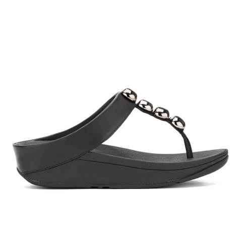 FitFlop Women's Rola Leather Toe-Post Sandals - Black - UK 7