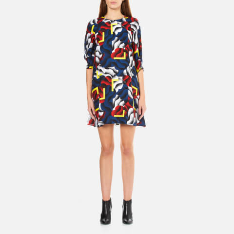 KENZO Women's Crew Neck Folded Sleeves Flared Dress - Black