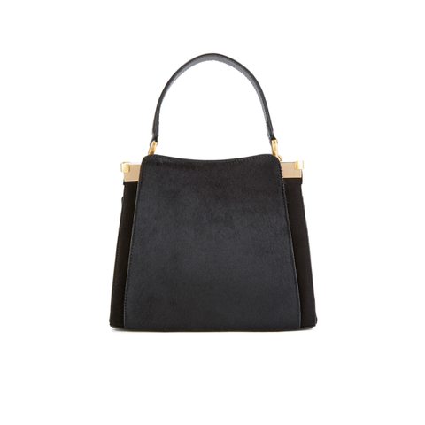 Lulu Guinness Women's Collette Small Leather and Suede Crossbody Bag  - Black