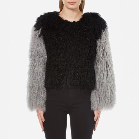 Charlotte Simone Women's Classic Fuzz Jacket - Black/Charcoal Grey - S/M