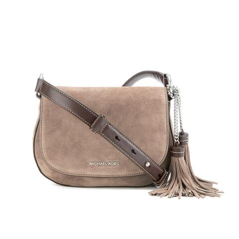 MICHAEL MICHAEL KORS Elyse Suede Tassle Saddle Bag - Grey