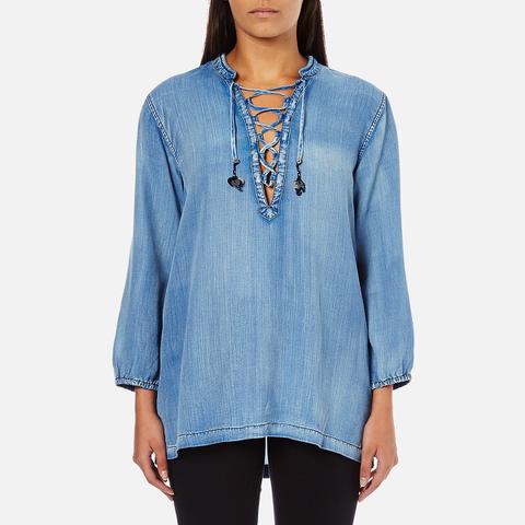 Maison Scotch Women's Drapey Woven Top - Blue