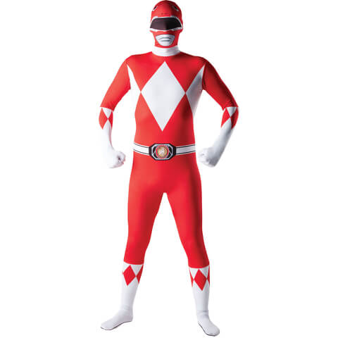 Power Rangers Men's 2nd Skin Red Power Ranger Fancy Dress