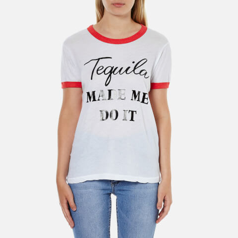 Wildfox Women's Tequila Hour Vintage Ringer T-Shirt - Clean White/Poppy Red