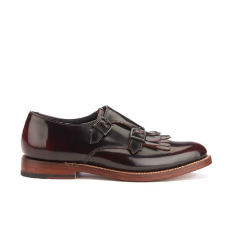 Grenson Women's Posy Rub Off Leather Monk Shoes - Burgundy