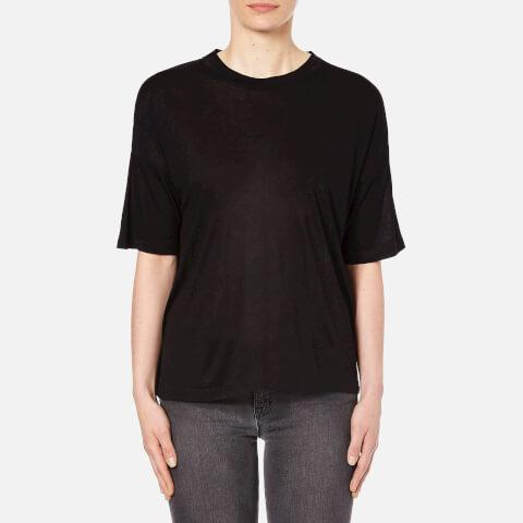 T by Alexander Wang Women's Viscose Jersey Short Sleeve Drop Shoulder T-Shirt - Black