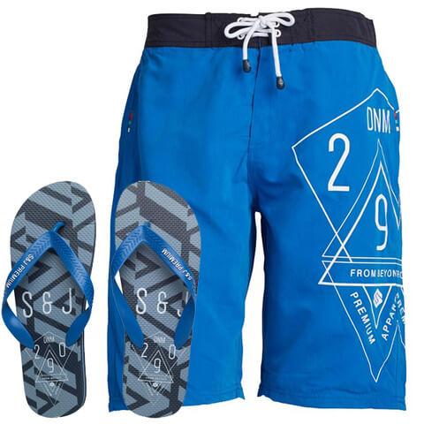 Smith & Jones Men's Amplitude Swim Shorts & Flip Flops - Victoria Blue
