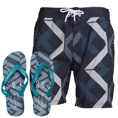 Smith & Jones Men's Diffraction Swim Shorts & Flip Flops - Navy Blazer