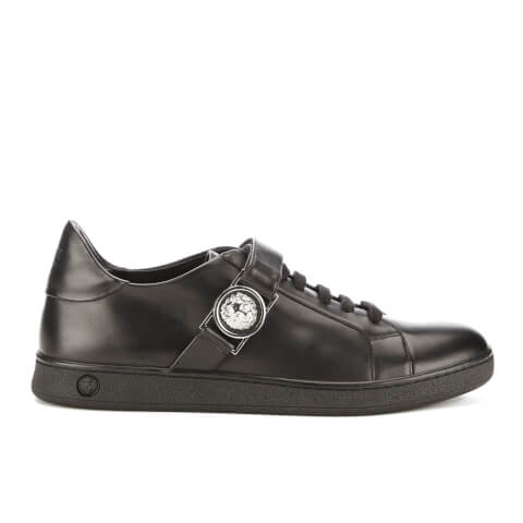 Versus Versace Men's Iconic Lion Head Calf Leather Low Top Trainers - Black