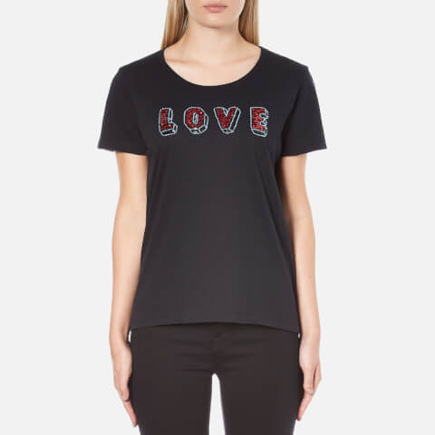 Maison Scotch Women's Crew Neck Clubhouse T-Shirt With Love Embellishment - Black