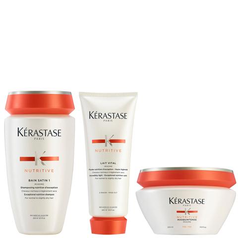 Kérastase Nutritive Bain Satin 1 250ml Nutritive Lait Vital 200ml & Masquintense Cheveux Fins (For Thin Hair) 200ml