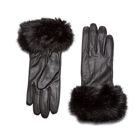 Barbour Women's Faux Fur Trimmed Leather Gloves - Black