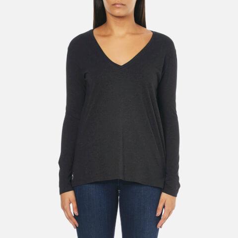 Polo Ralph Lauren Women's Long Sleeve V Neck T-Shirt - Boot Black Heather