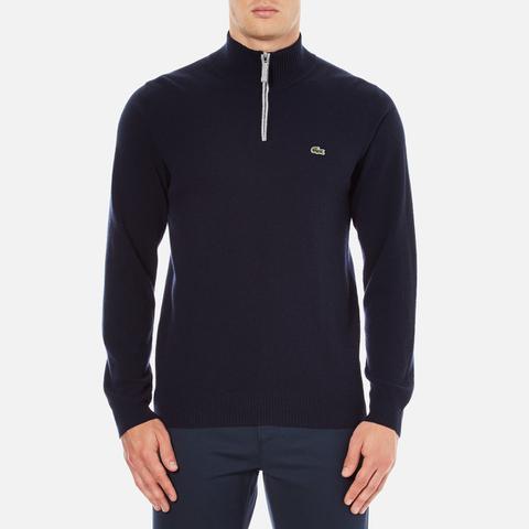 Lacoste Men's Half Zip Funnel Neck Sweatshirt - Navy Blue/Silver Chine
