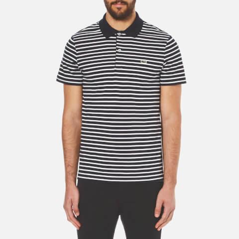 Lacoste Men's Striped Polo Shirt - Navy Blue/Flour