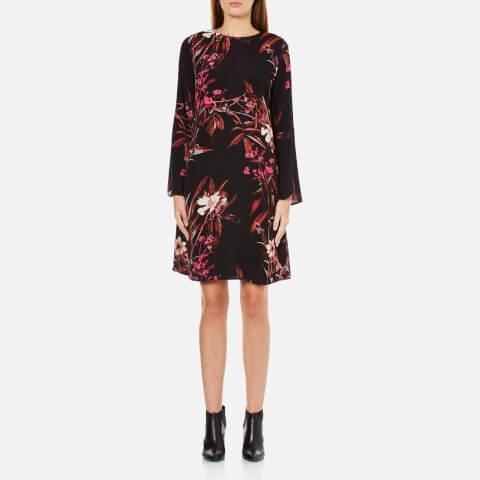 Gestuz Women's Demi Printed Dress With Bell Sleeve - Black/Pink Flower Print