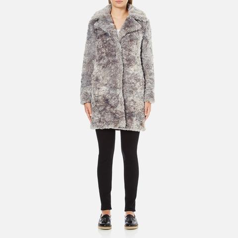 Karl Lagerfeld Women's Soft Curly Faux Fur Coat - Grey