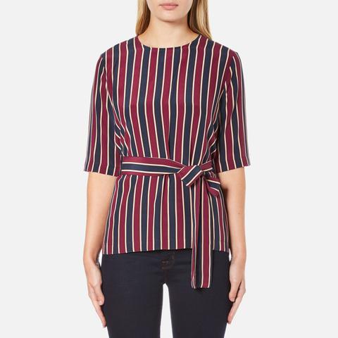 Ganni Women's Donaldson Silk Tie Blouse - Cabernet Stripe
