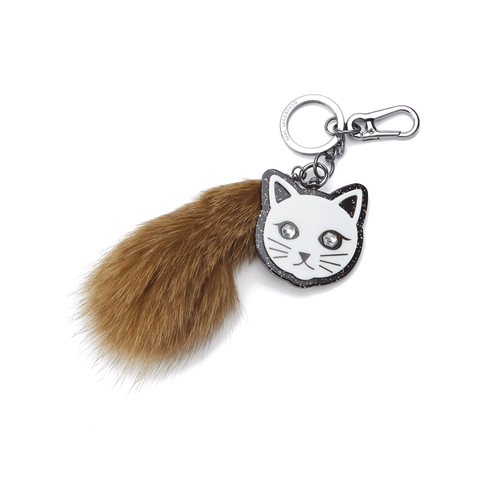 Karl Lagerfeld Women's Fur Tail Keychain - Brown