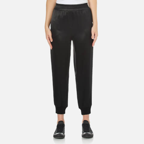 DKNY Women's Pull On Pants with Ribbed Ankle Cuff - Black