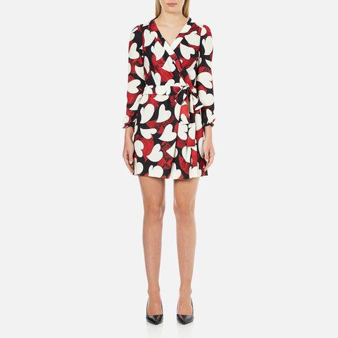 Boutique Moschino Women's Heart Print Wrap Around Dress - Multi