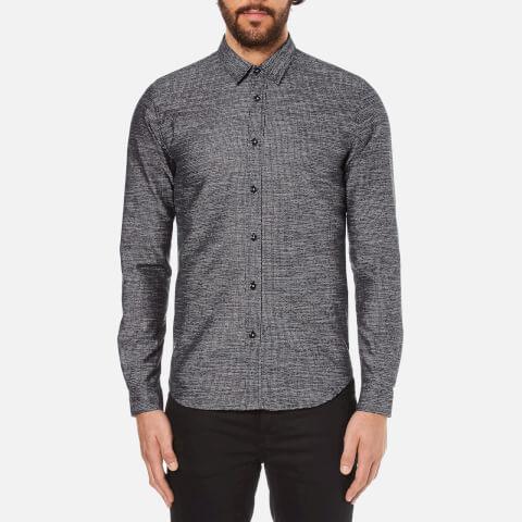 Folk Men's Textured Long Sleeve Shirt - Navy Texture