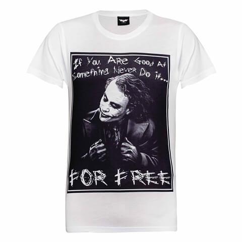 DC Comics Men's Batman The Joker Never for Free T-Shirt - White