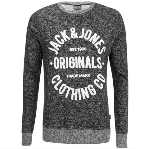 Jack & Jones Men's Originals Clemens Crew Neck Sweatshirt - Dark Grey Melange