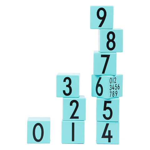 Design Letters Kids' Collection Wooden Cubes 0-9 - Turquoise