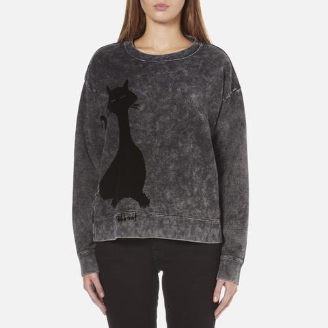 Marc Jacobs Women's Long Sleeve Crew Neck Cat Sweatshirt - Grey