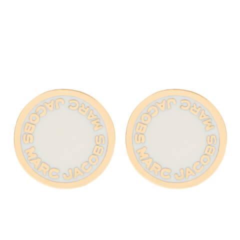 Marc Jacobs Women's Enamel Logo Disc Stud Earrings - Cream