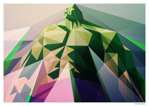 Hulk Inspired Geometric Art Print - 'Mad Man' 16.5 x 11.7