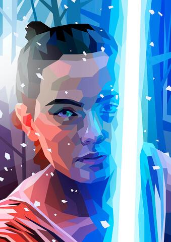 Star Wars Rey Inspired Illustrative Fine Art Print - 16.5 x 11.7
