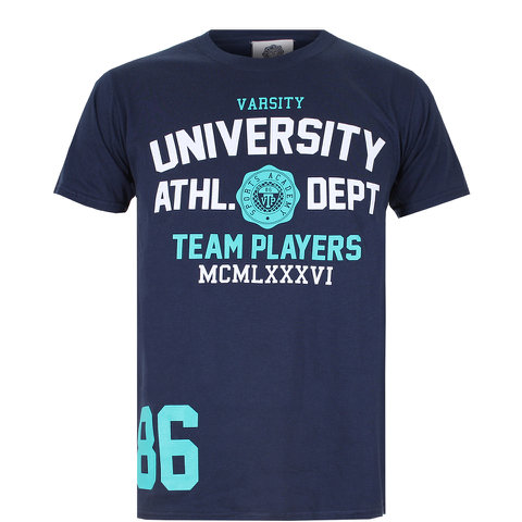 Varsity Team Players Men's University Athletic T-Shirt - Navy