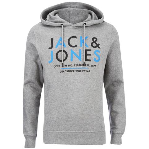 Jack & Jones Men's Core Noah Print Hoody - Light Grey Melange