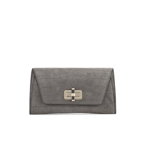 Diane von Furstenberg Women's Gallery Uptown Embossed Croc Clutch Bag - Slate