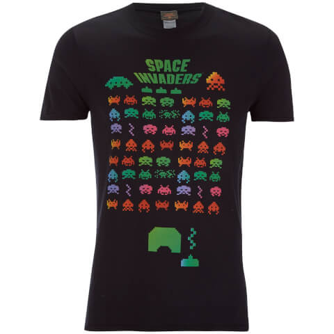Atari Men's Space Invaders Rainbow Arcade Game T-Shirt - Black