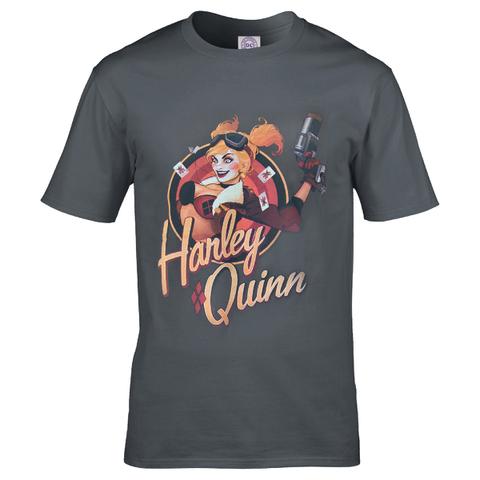 DC Comics Men's Bombshell Harley Quinn Logo T-Shirt - Grey